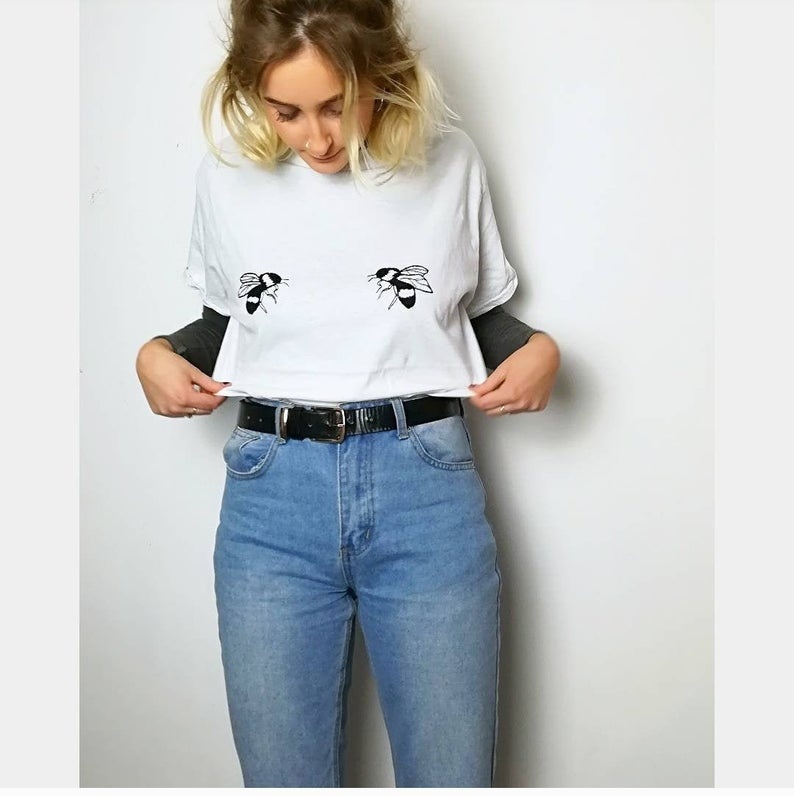bumblebee embroidered white t-shirt