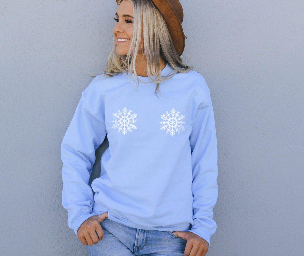snowflake boobs sweatshirt