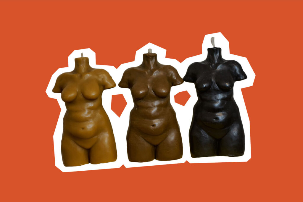 three female body candle